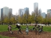 Panorama Chicago w mglisty, jesienny dzień