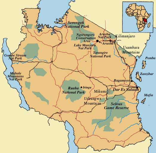 Mapa Tanzanii z parkami narodowymi