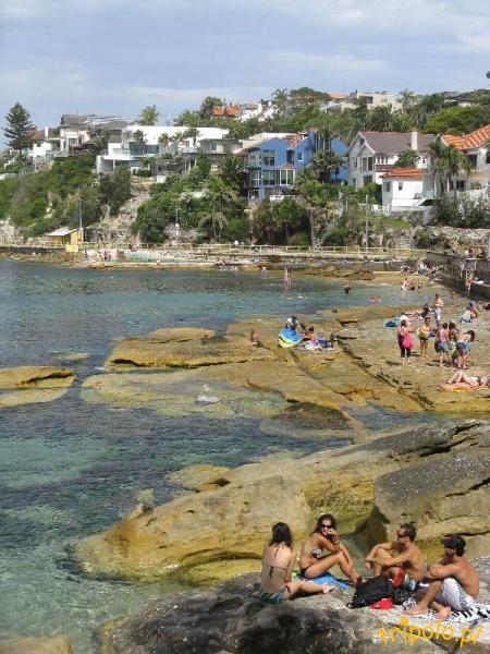 Główna plaża w Manly - wypoczynek na skałach