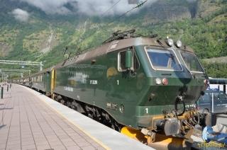 Norwegia, kolej górska Flamsbana na stacji Flam