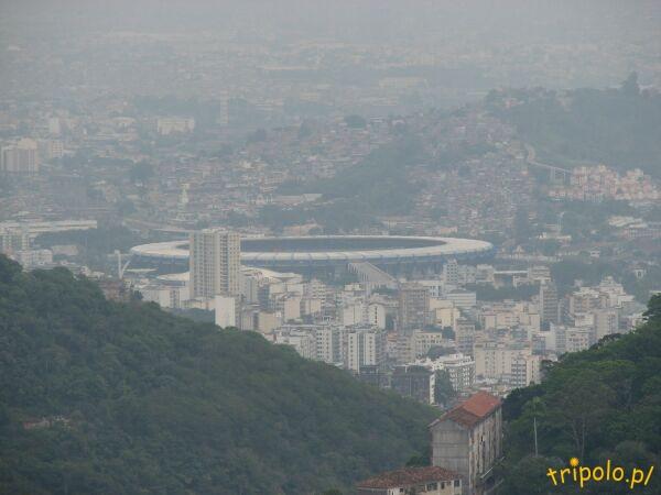 Słynna Maracana widziana ze punktu widokowego na szczycie Corcovado
