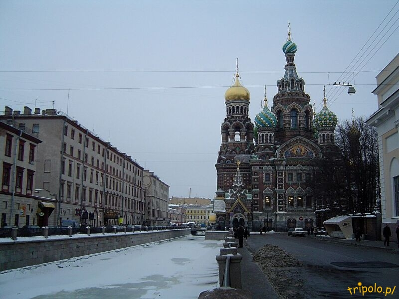 Zamarznięty Kanał Gribojedowa w Sankt Petersburgu