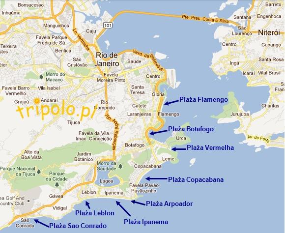 mapa plaż w Rio De Janeiro